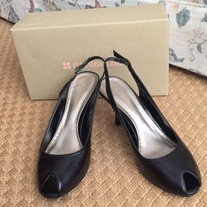 Naturalizer Black Leather Peep Toe Heels